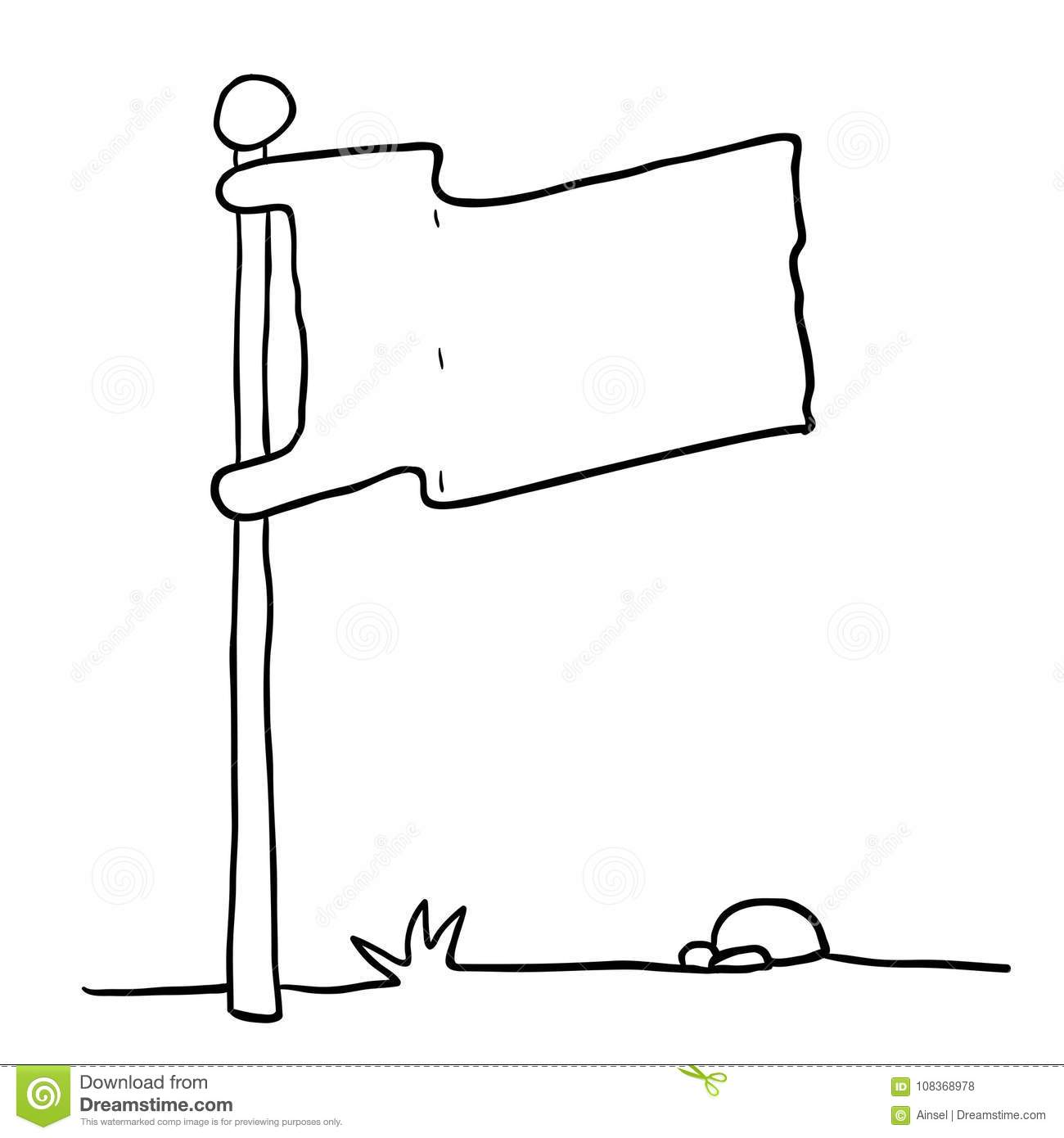 Black And White Flag On A Pole Stock Illustration