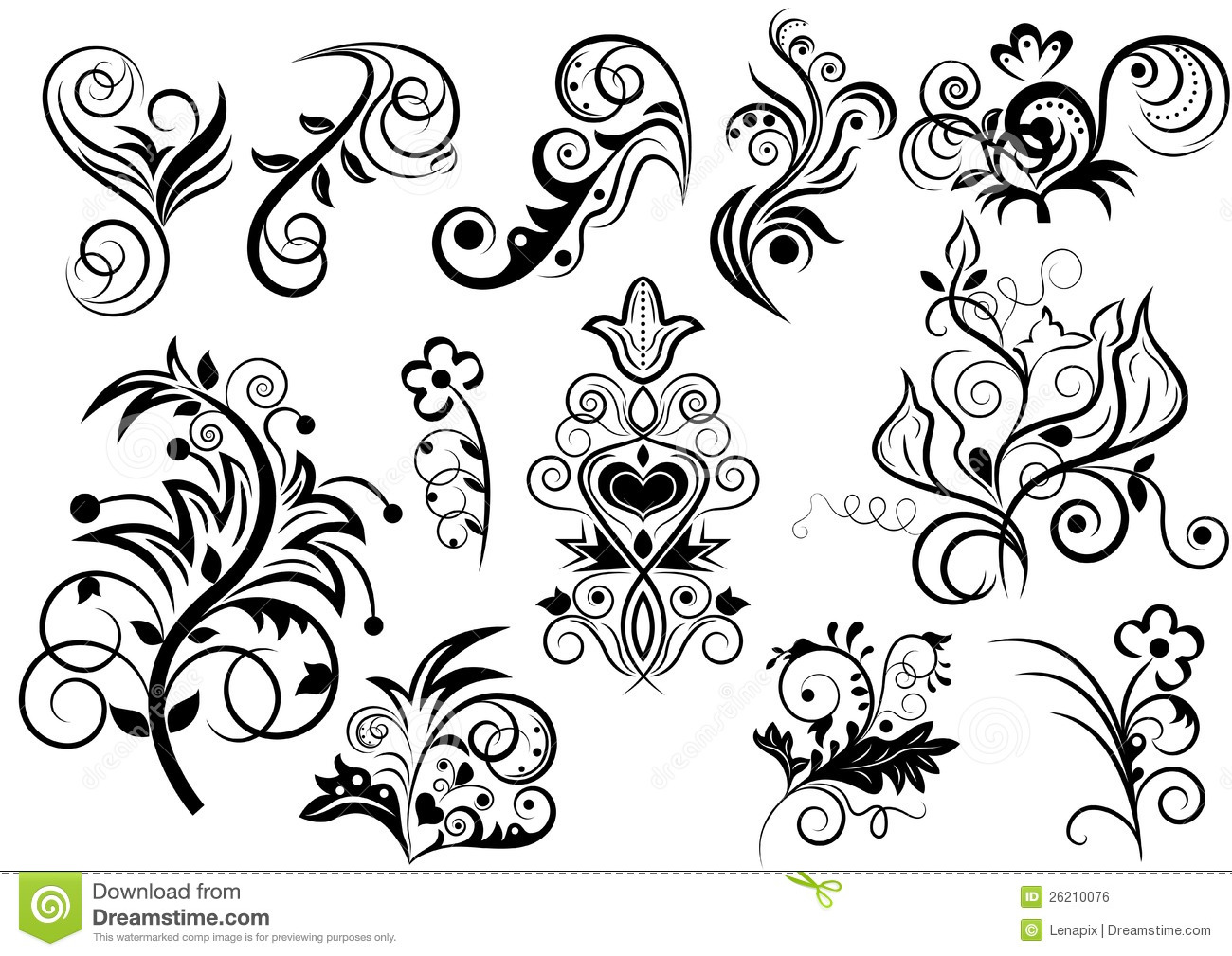 Black And White Floral Design Stock Vector