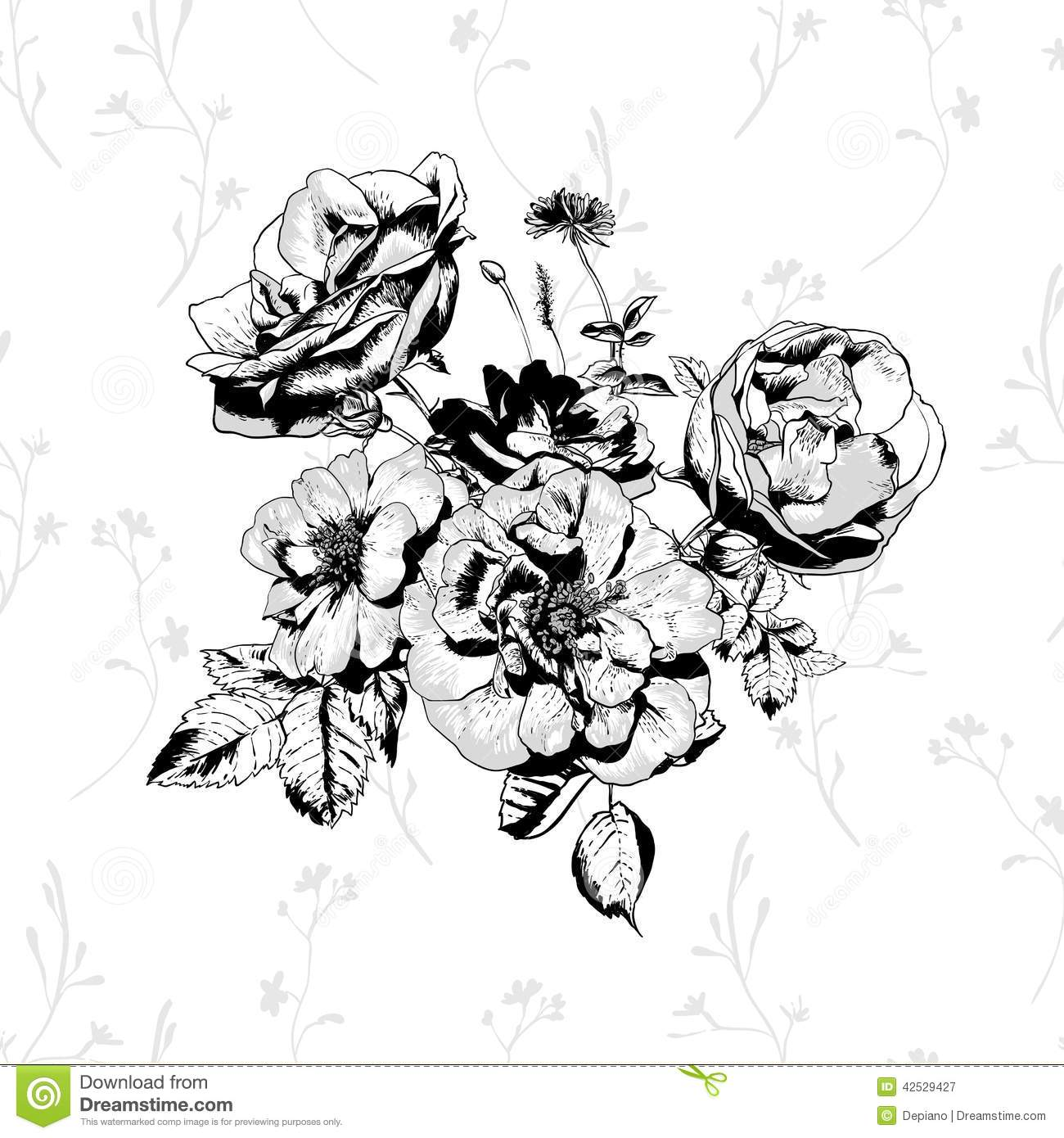 Black And White Floral Greeting Card Stock Vector