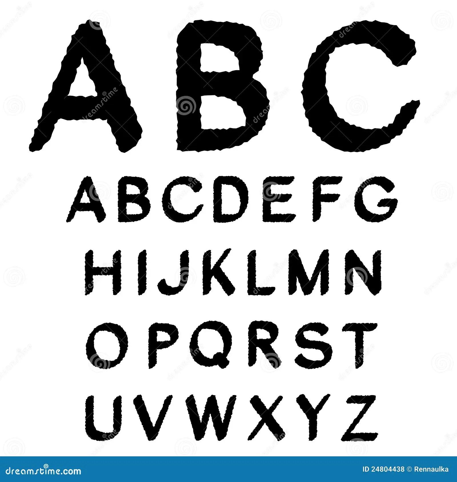 Black And White Font Alphabet Stock Vector