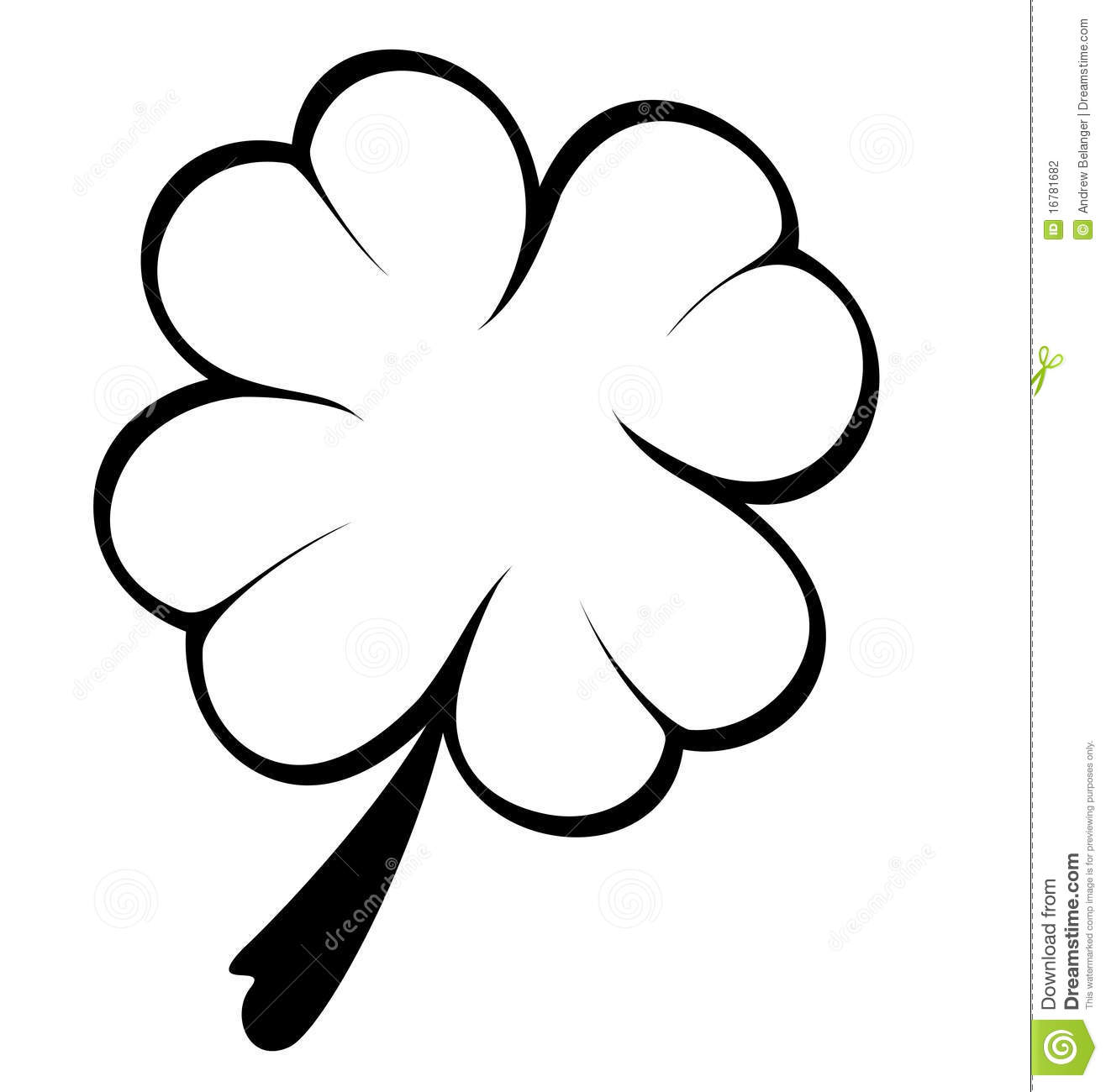 Black And White Four Leaf Clover Stock Vector