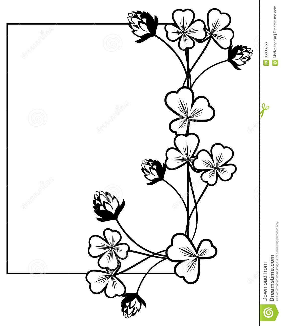 Black And White Frame With Shamrock Contour Raster Clip