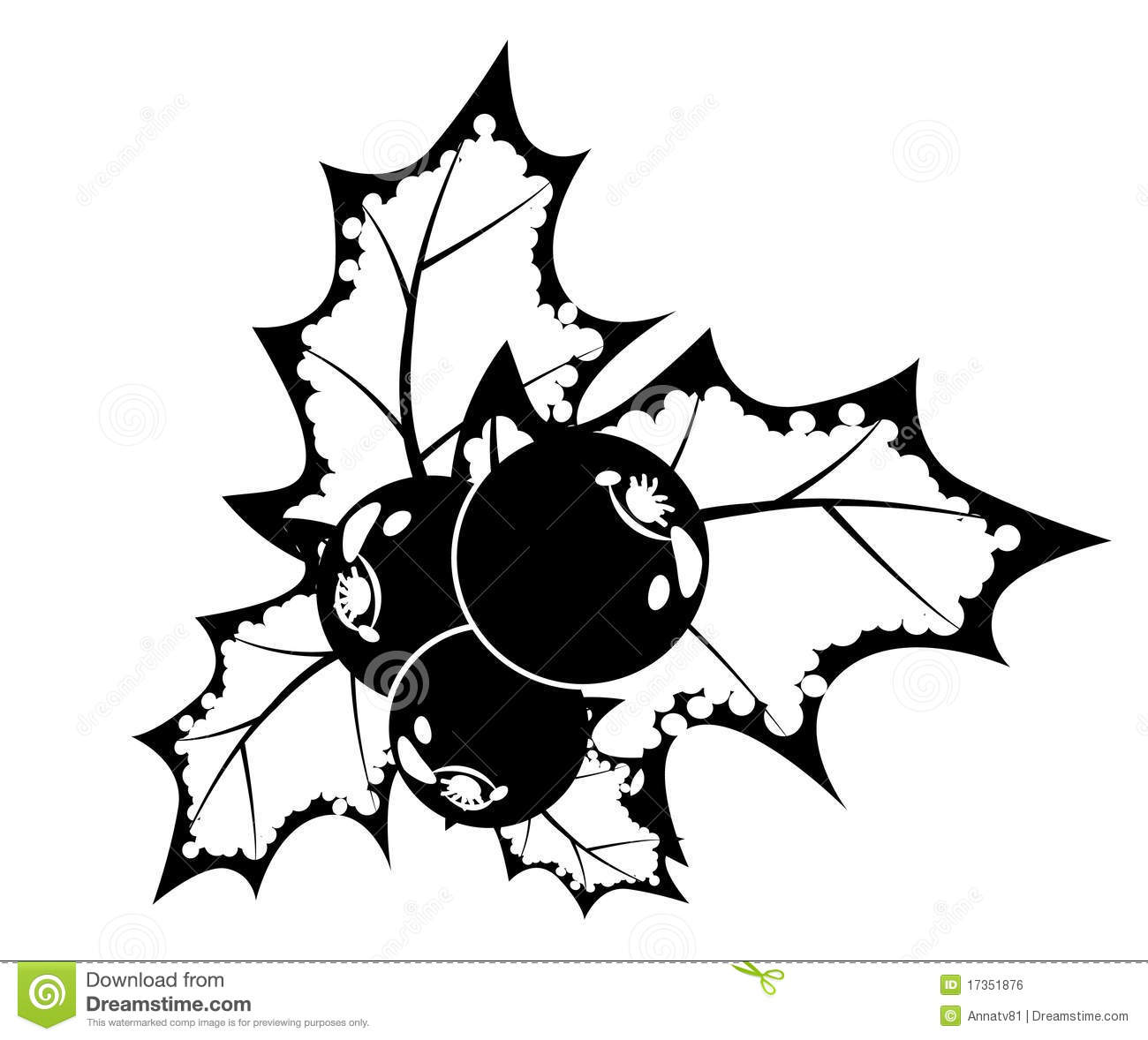 Black And White Holly Berry Royalty Free Stock Image