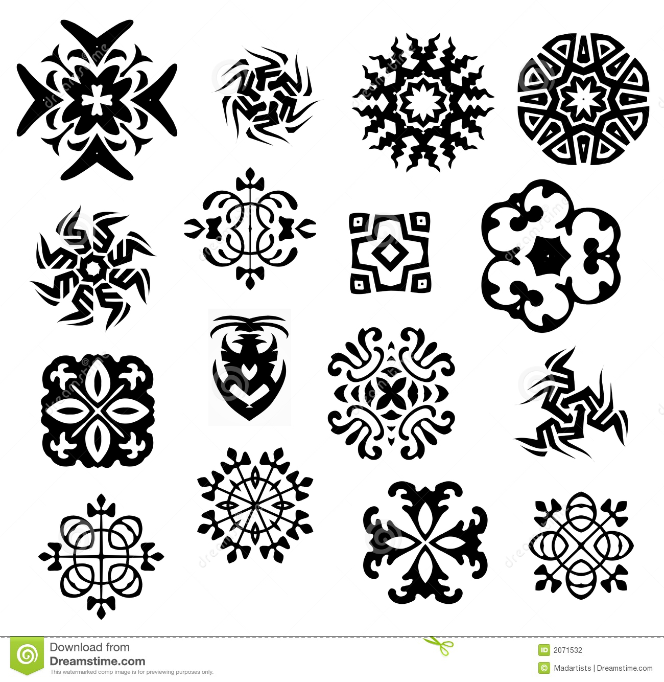 Black And White Icons Patterns Stock Illustration