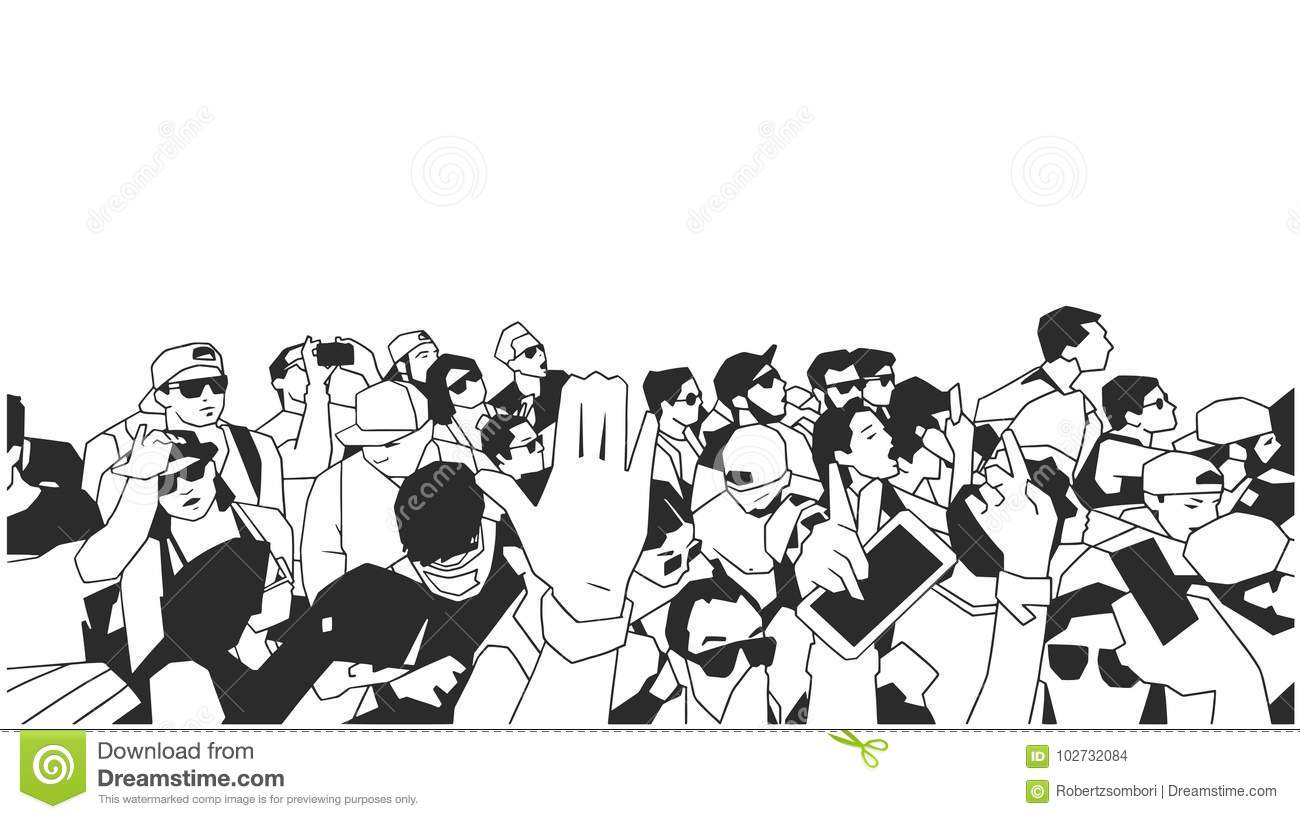 Black And White Illustration Of Party Crowd Cheering At