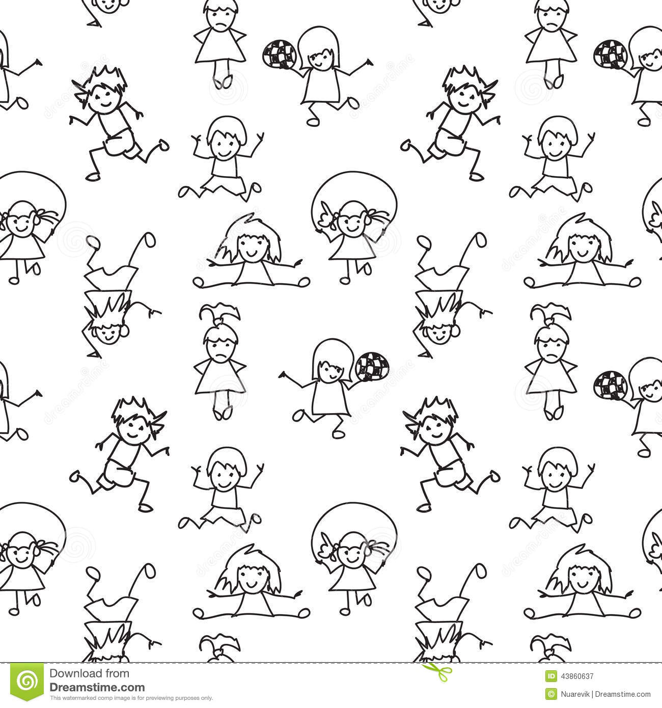 Black And White Kids Doodles Seamless Pattern Stock