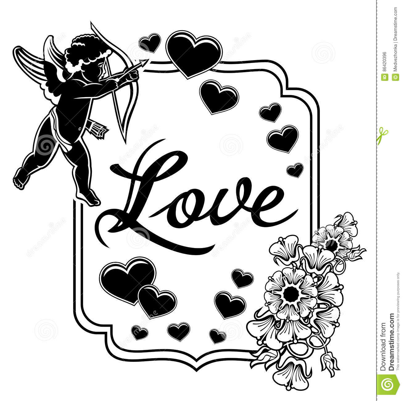 Black And White Label With Silhouettes Of Cupid Raster