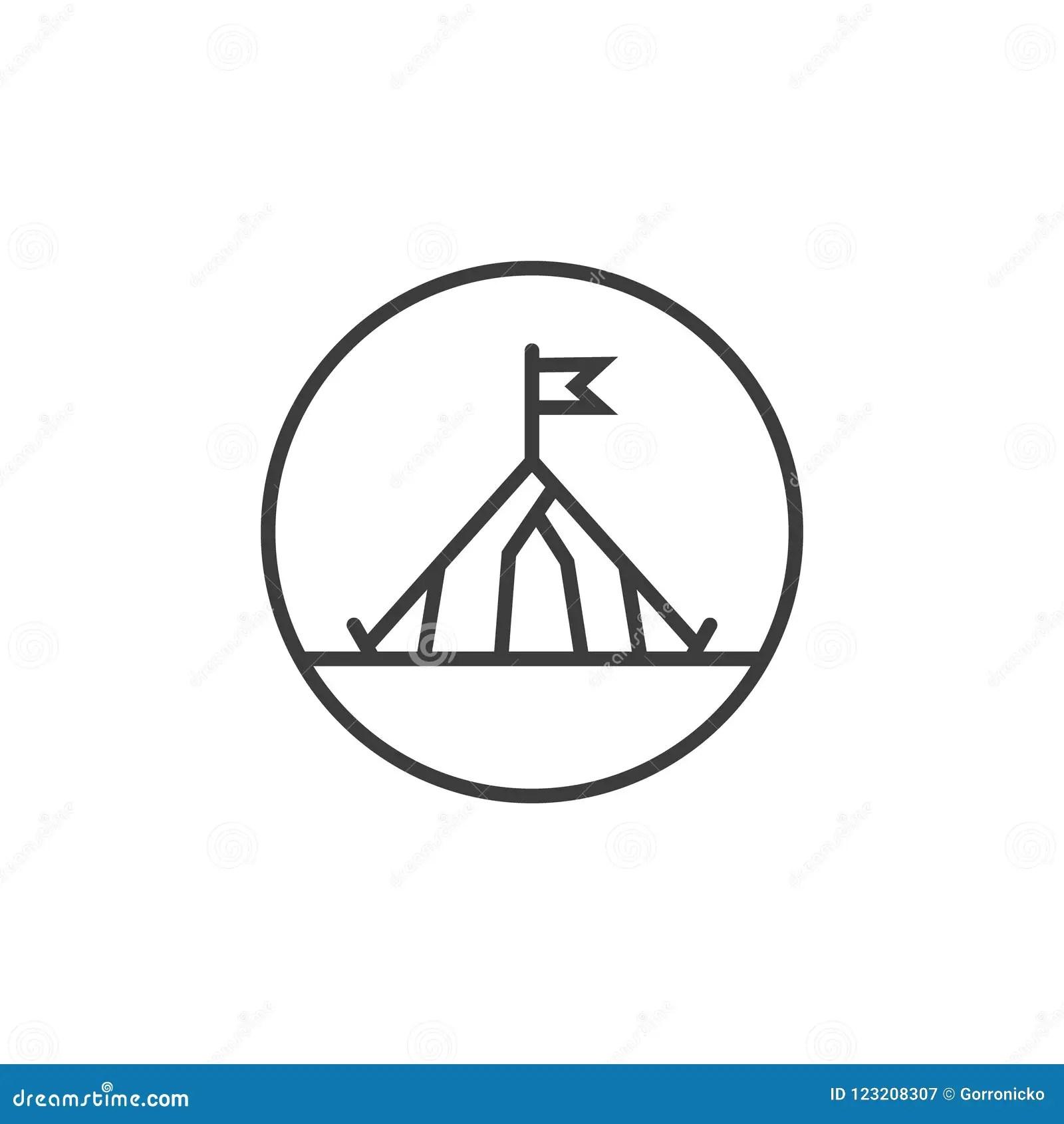 Tent Flat Icon Or Logo For Web Design Cartoon Vector