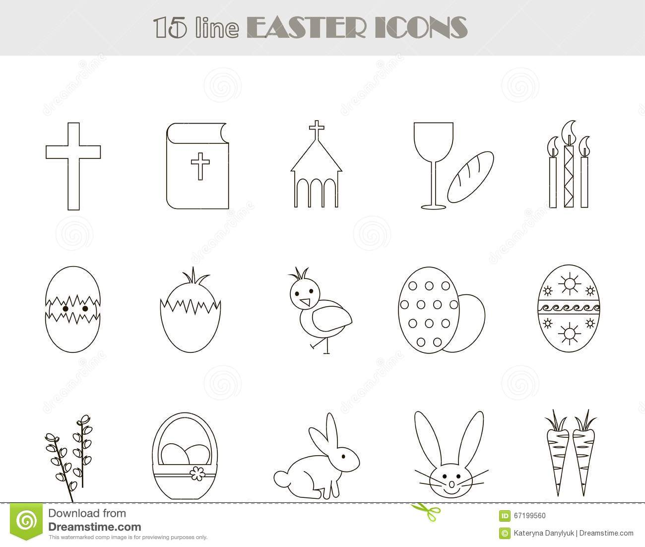 Black And White Line Easter Icons Vector Illustration