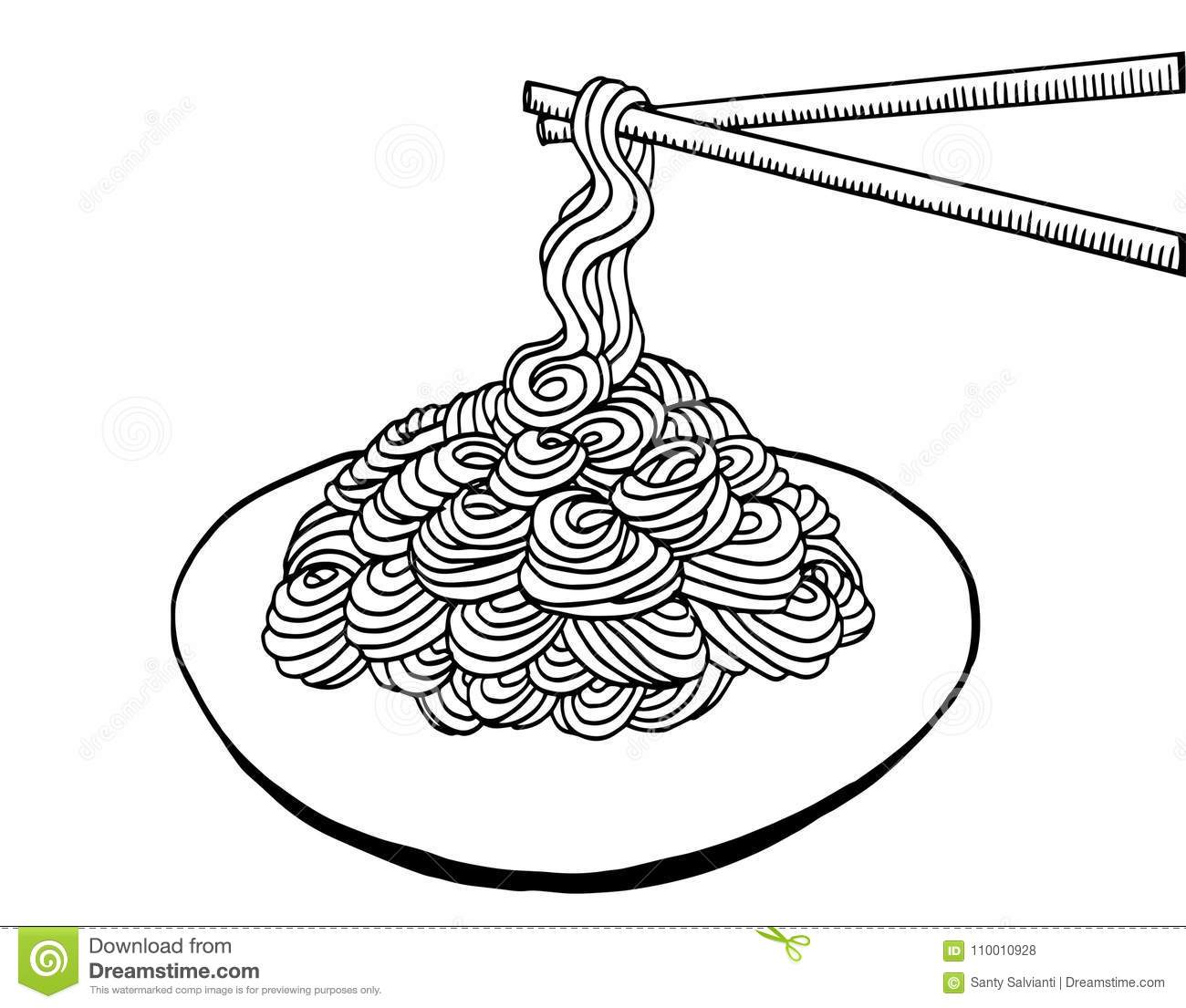 Black And White Noodle At Plate Illustration Hand