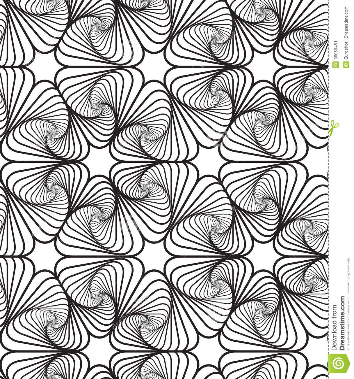 Black And White Op Art Design Vector Seamless Pattern