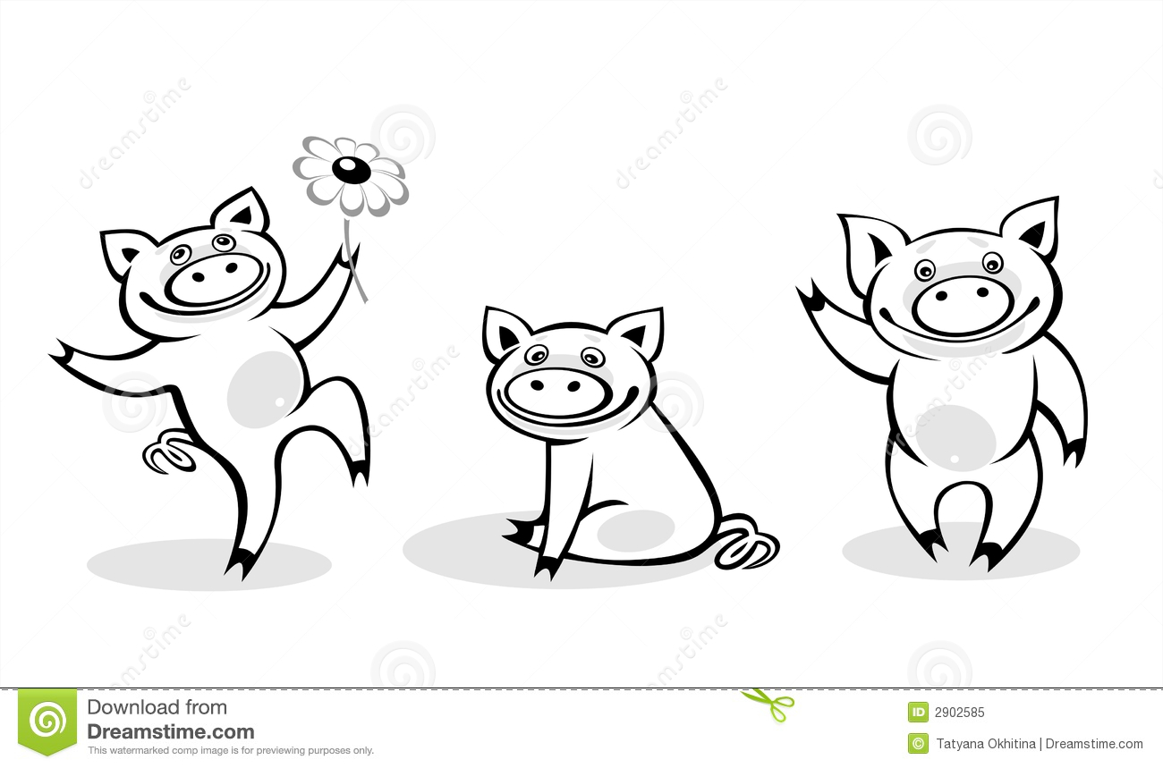Black And White Pigs Royalty Free Stock Photo