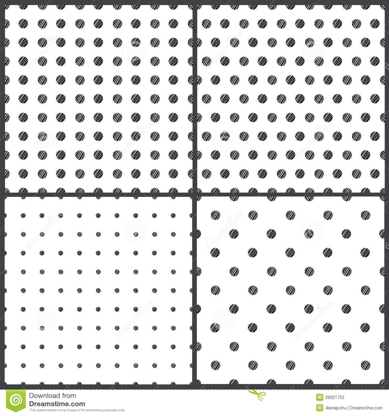 Black And White Polka Dots Seamless Pattern Stock