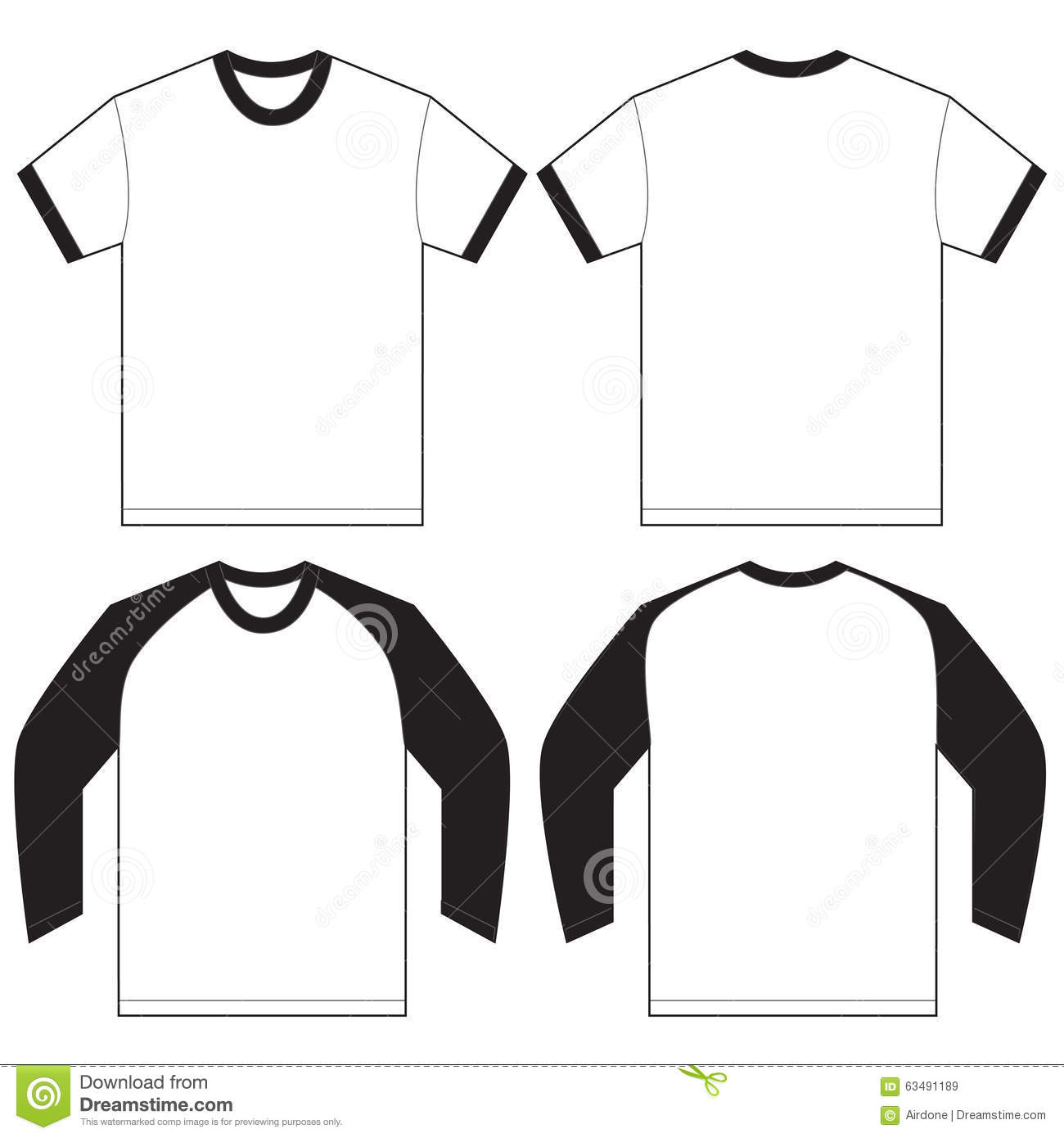 Black White Ringer T Shirt Design Template Stock Vector