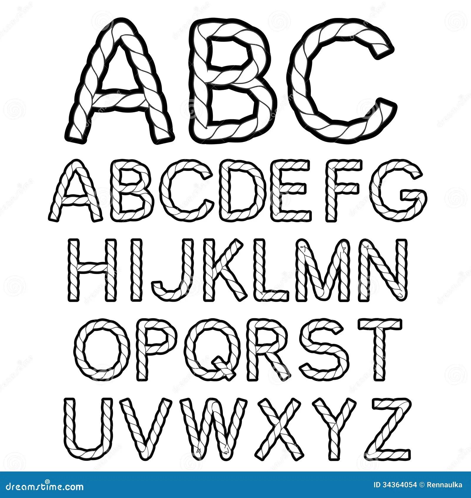 Black White Rope Font Alphabet Stock Vector