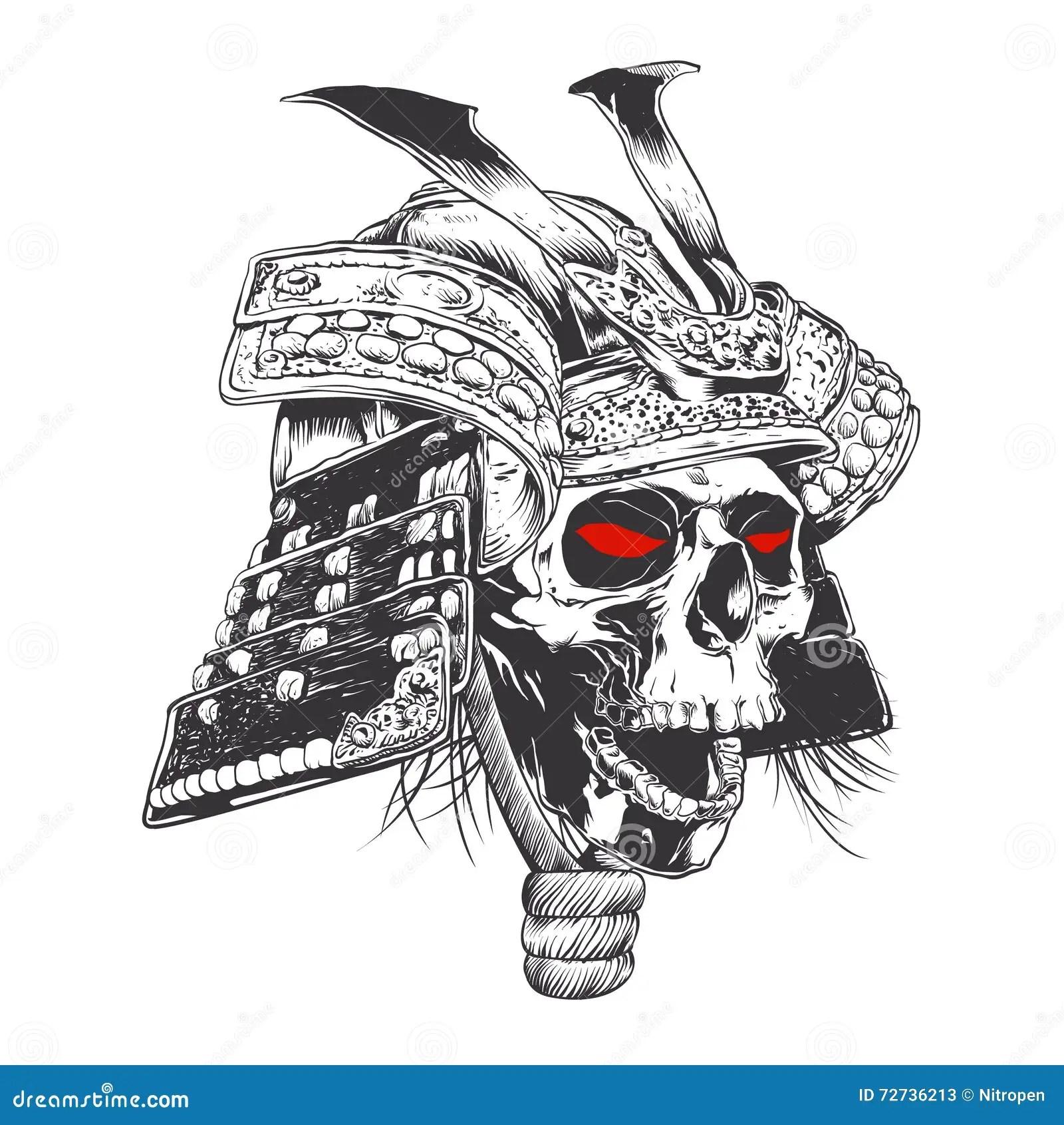 Black And White Samurai Helmet With Skull Stock Vector