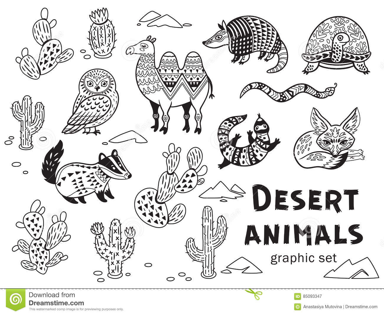 Desert Animals For Kids Coloring Page