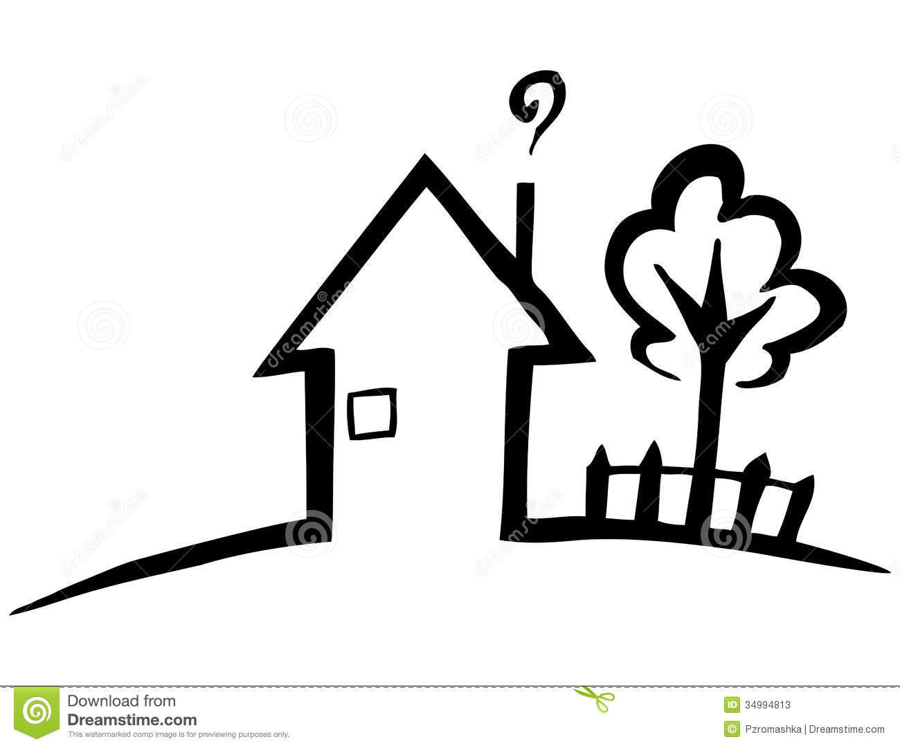 Black And White Silhouette Of A Small House Stock Vector