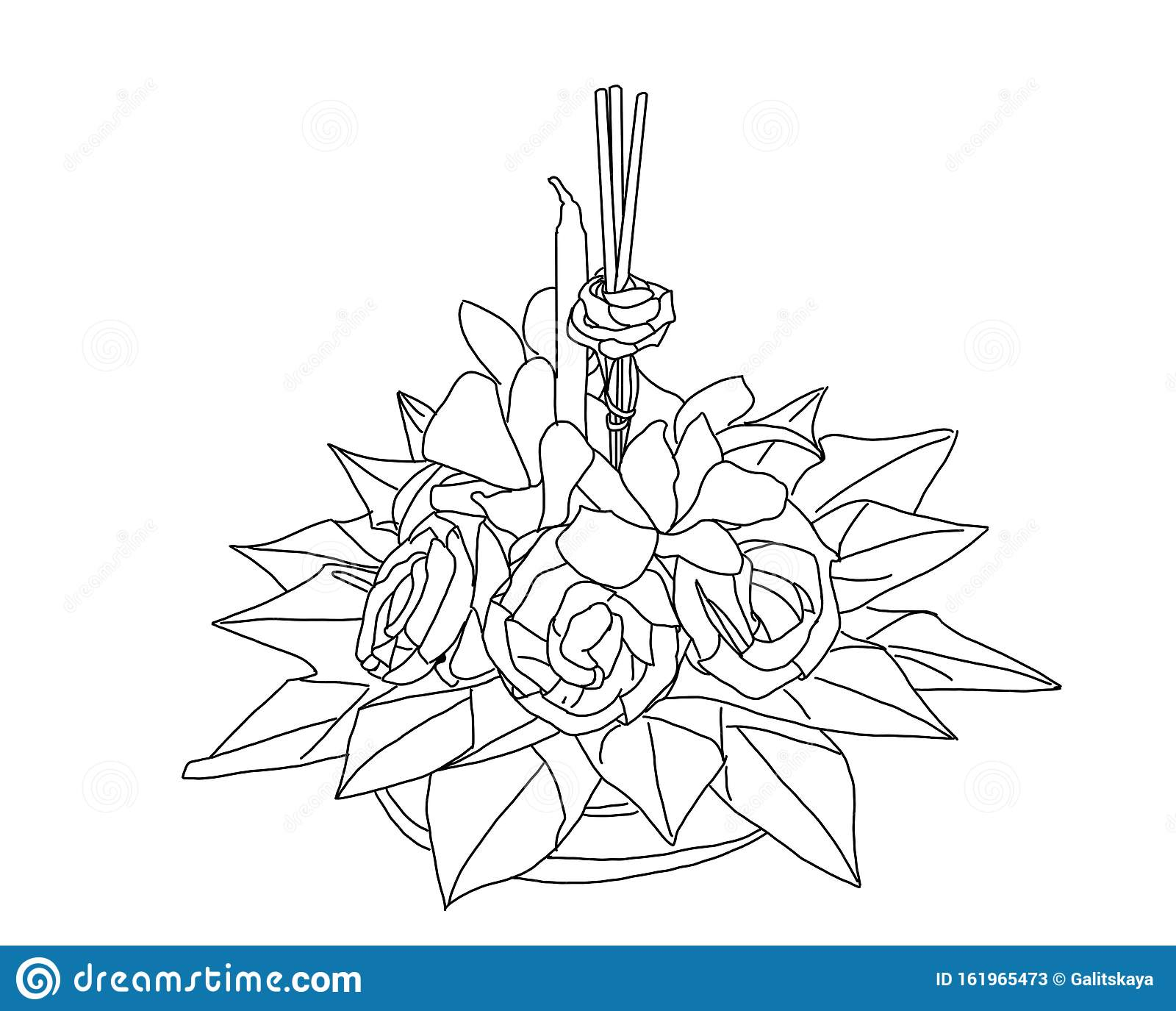 A Black And White Sketch Of A Floating Loy Kratong