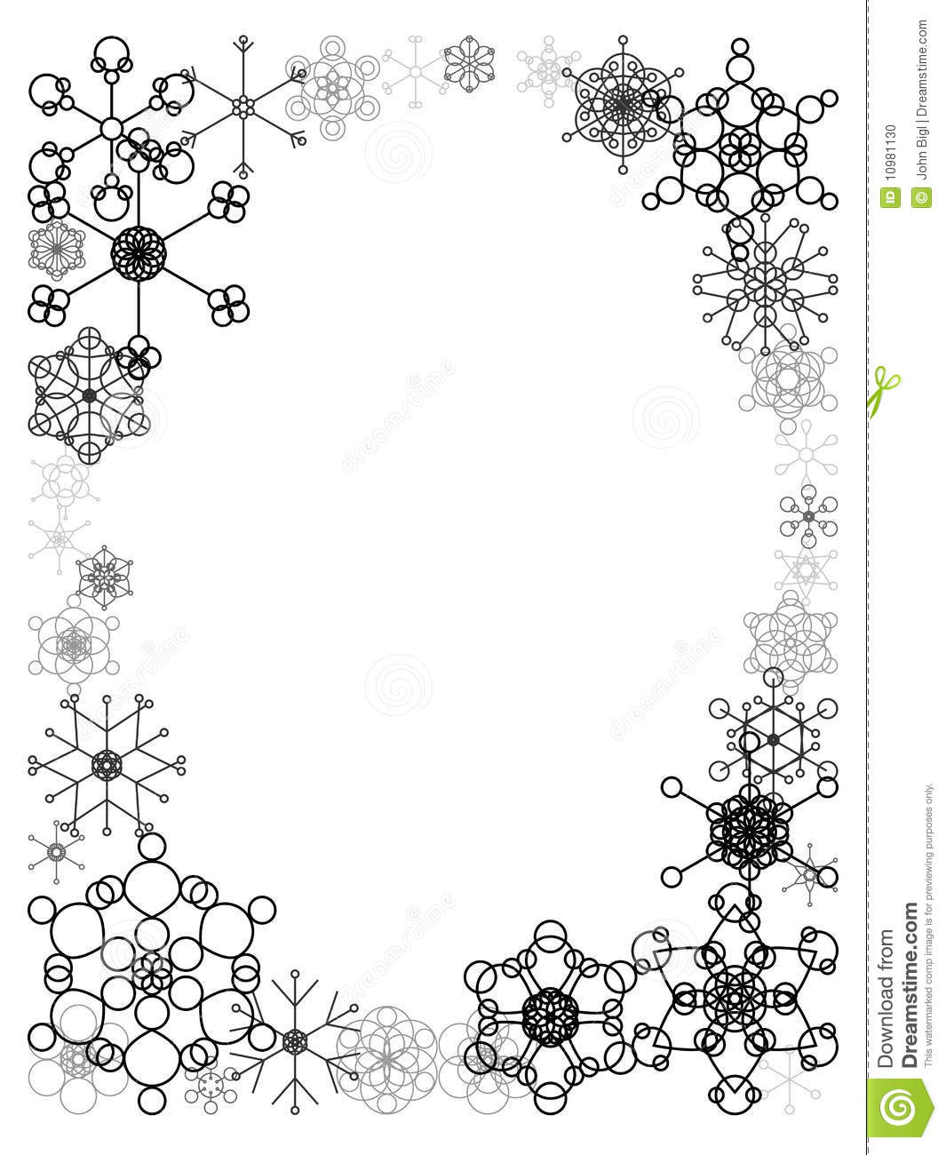 Black And White Snow Frame Stock Photo