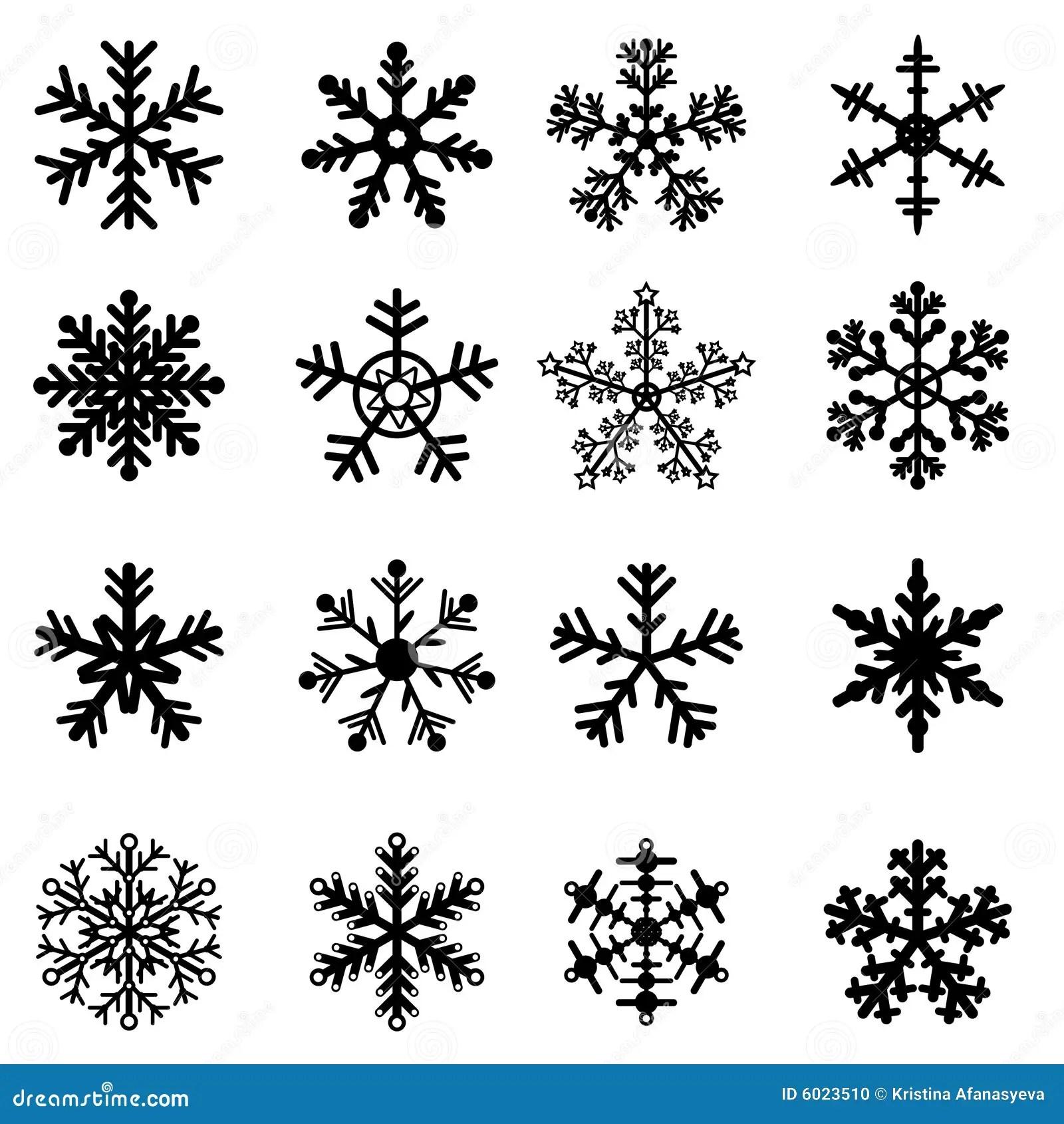 Black And White Snowflakes Set Stock Photo