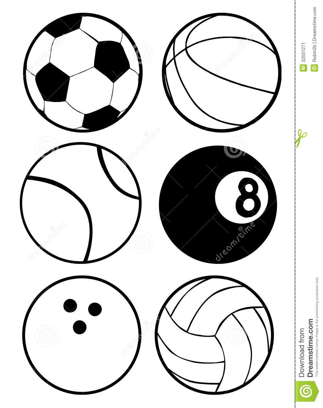 Black And White Sports Balls Stock Vector