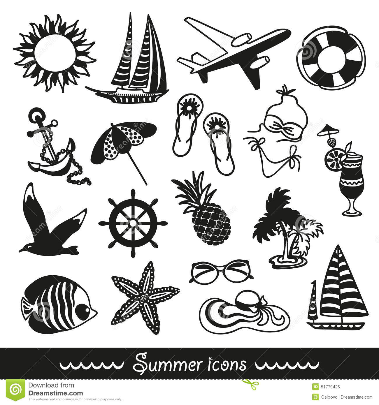 Black And White Summer Icons Stock Vector