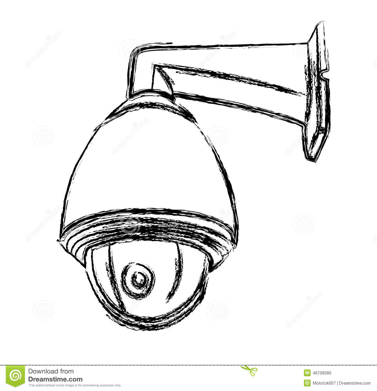 Black And White Surveillance Camera Cctv Stock Vector