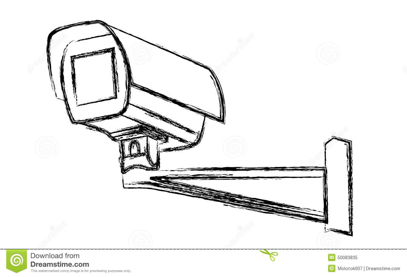 Black And White Surveillance Camera Cctv Warning Sign
