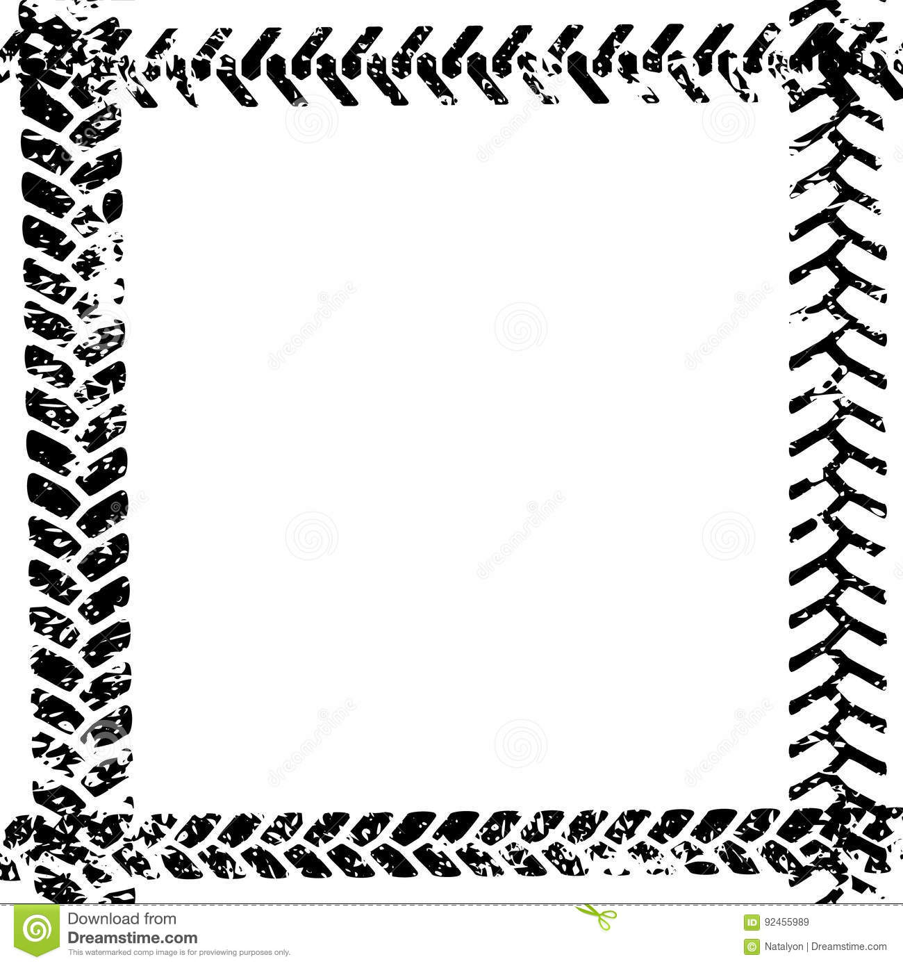 Black And White Tire Tread Protector Track On White Grunge