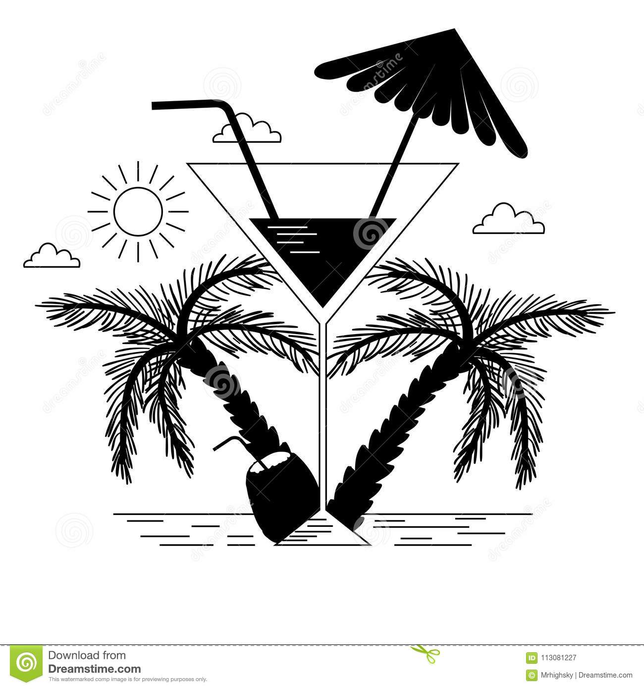Black And White Tropical Beach And Drinks Stock Vector