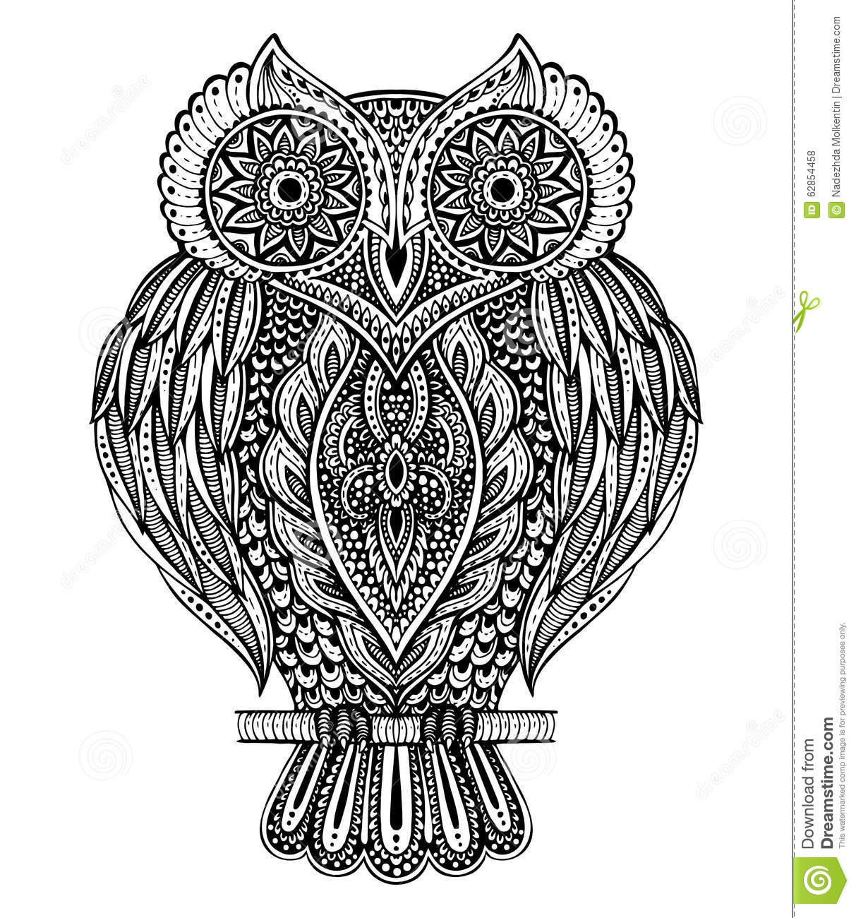 Black And White Vector Hand Drawn Ornate Owl Stock Vector