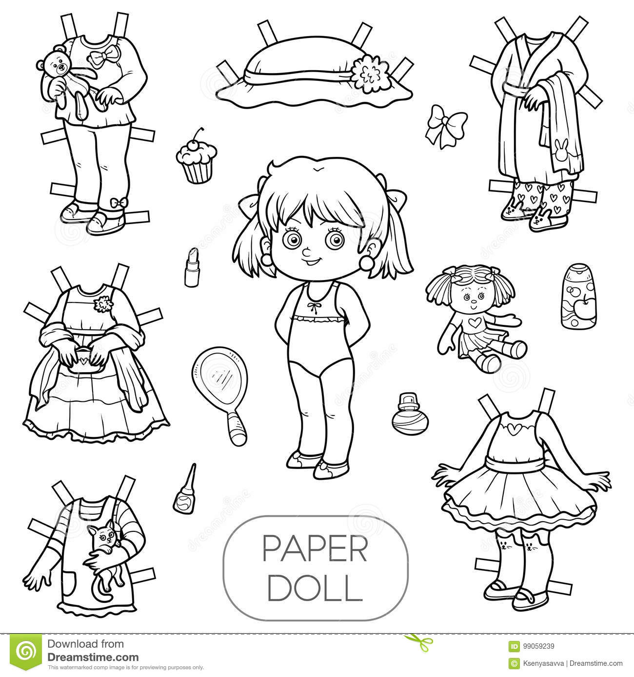 Black And White Vector Set Paper Doll And Clothes Stock