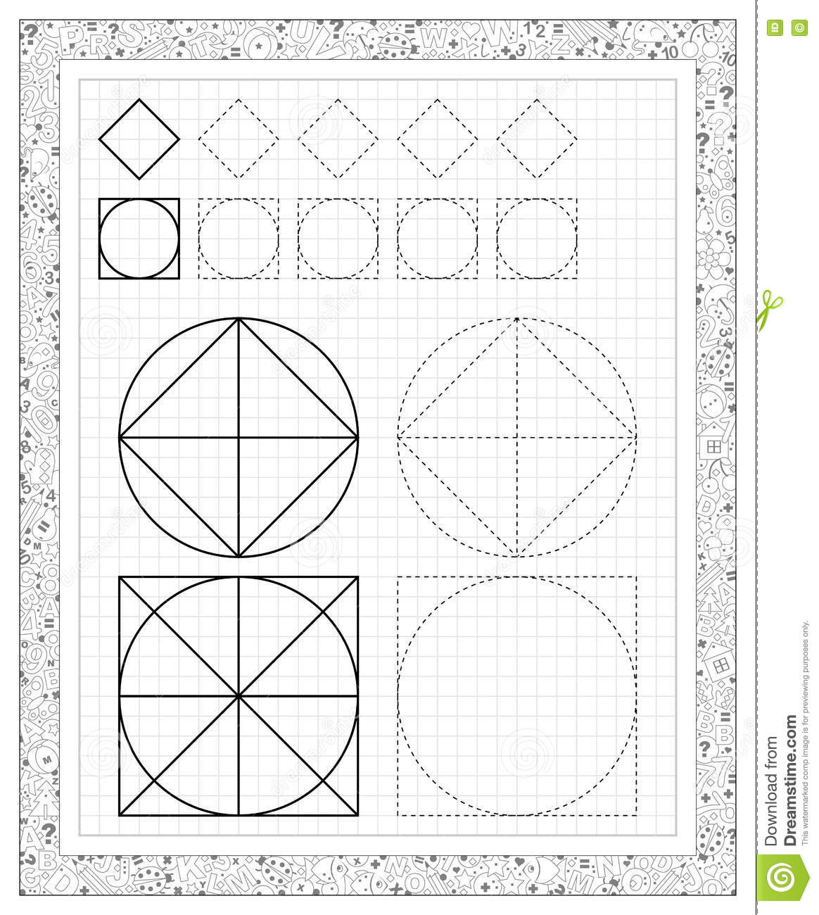 Black And White Worksheet On A Square Paper With Exercises For Little Children Stock Vector