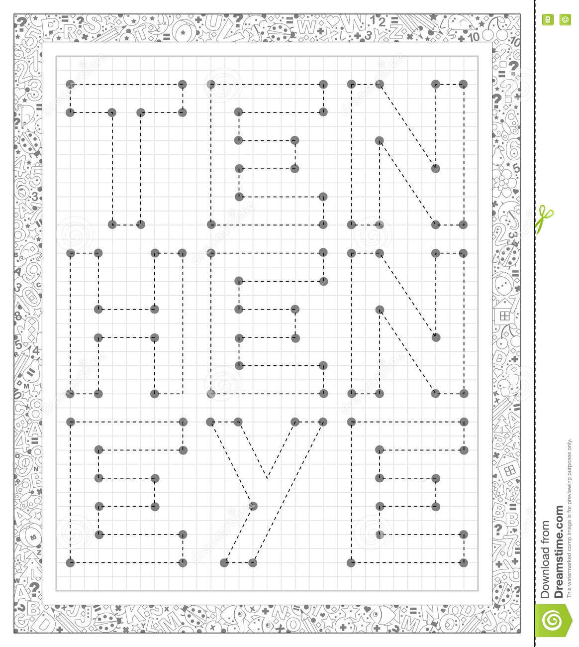 Black And White Worksheet On A Square Paper Join The