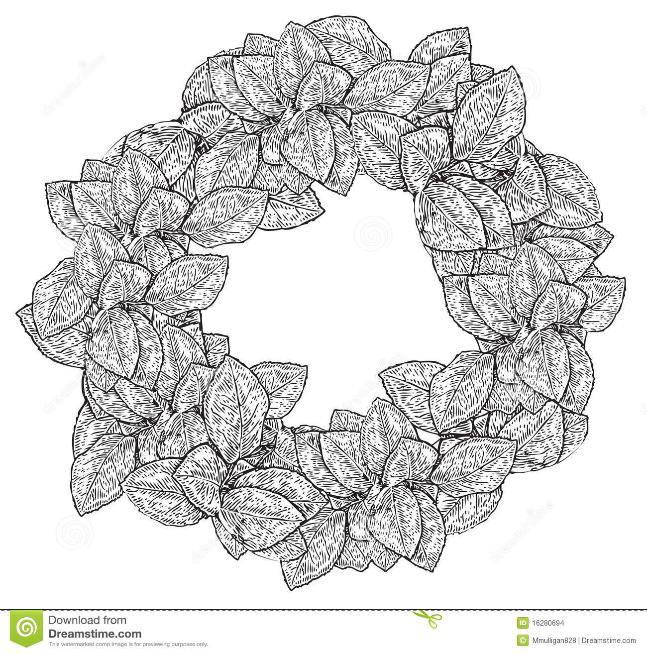 Black And White Wreath Of Leaves Stock Images Image