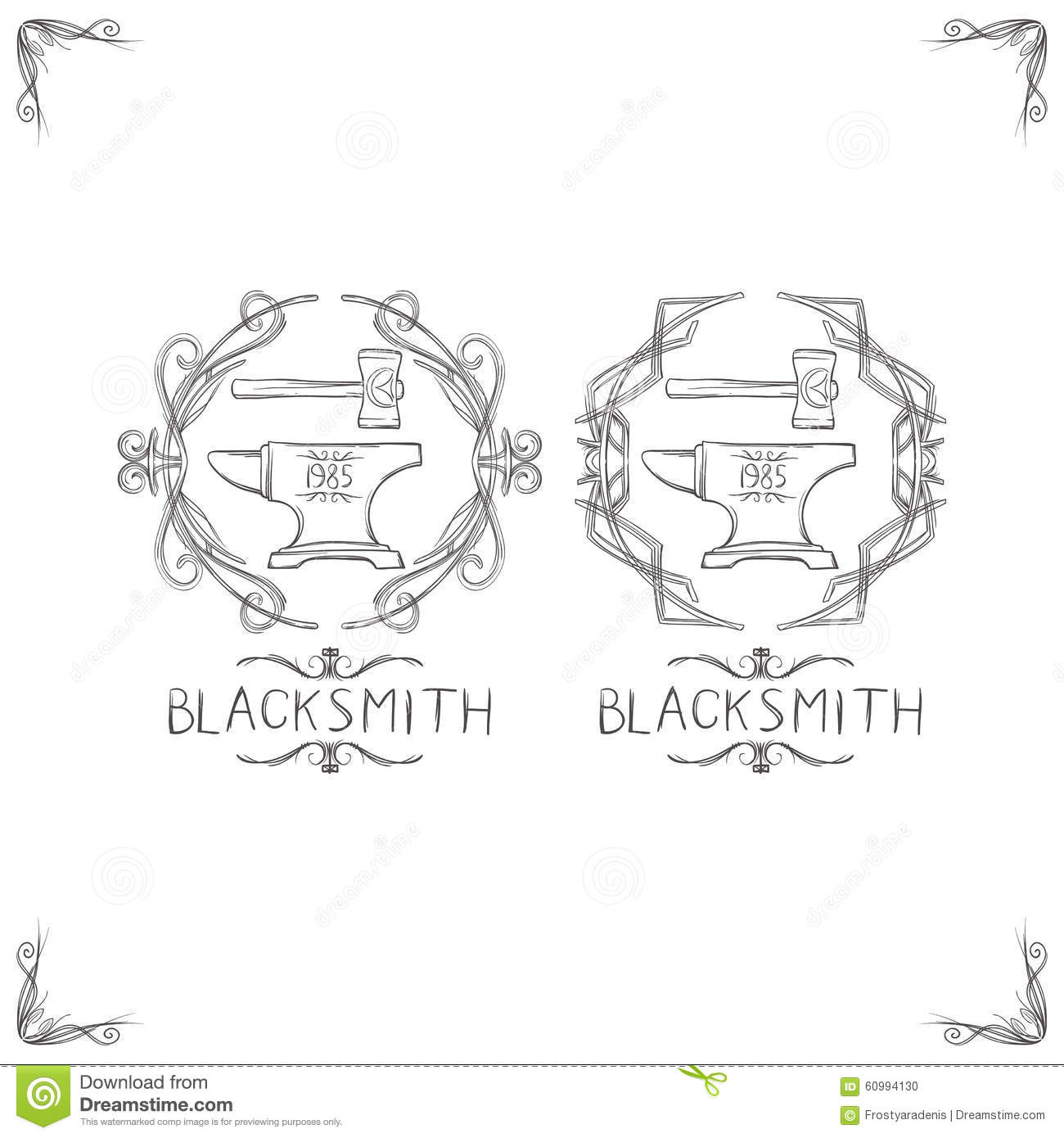 Blacksmith And Forging Logo Or Emblem Vintage Cartoon