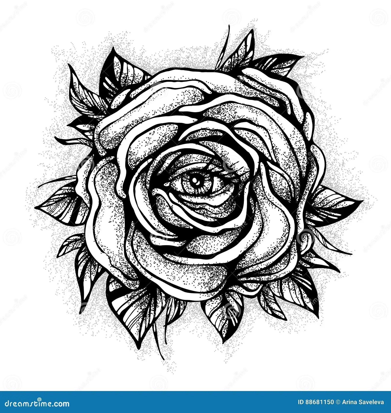 Blackwork Tatueringexponering Rosa Blomma Hogt Detaljerad