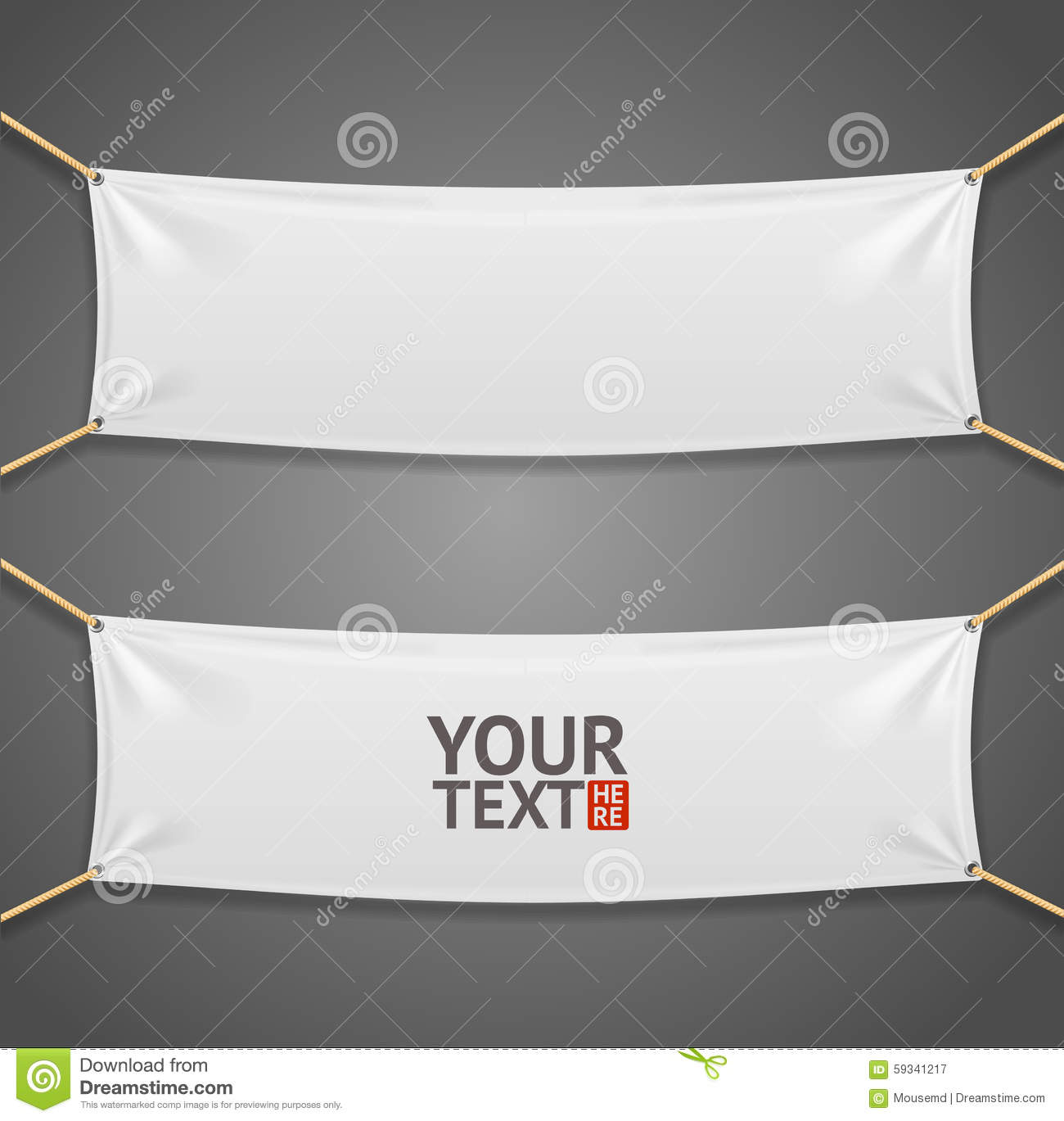 Blanc Fabric Rectangular Banner With Ropes Vector Stock Vector Image 59341217