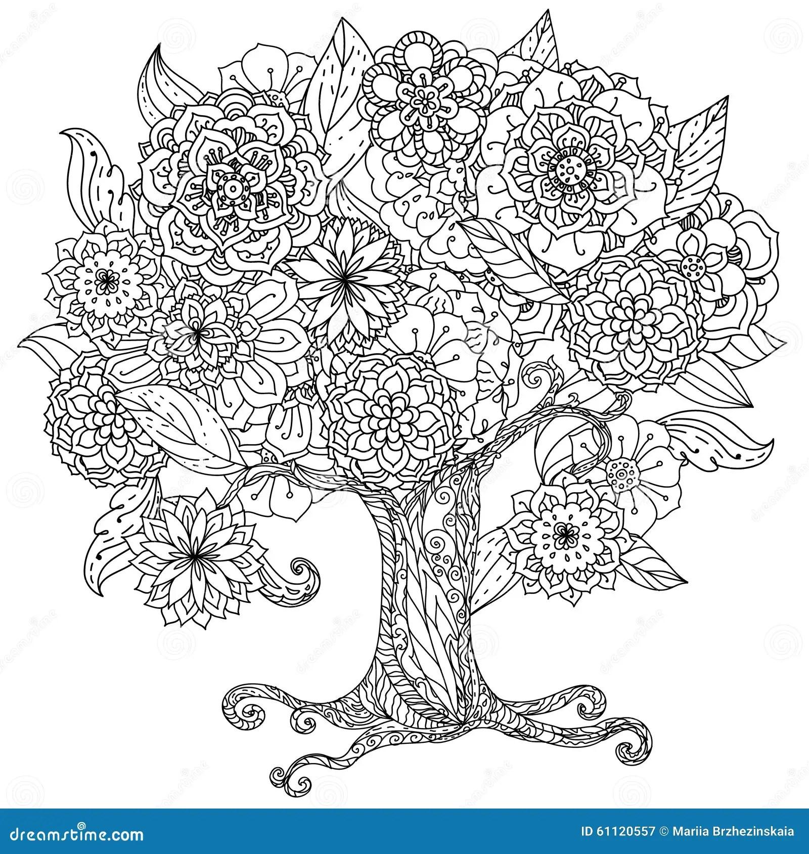 Blanco Y Negro Floral De Oriente Del Circulo Ilustracion