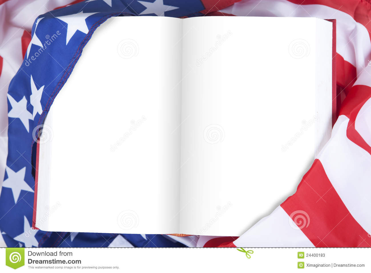 Blank Book Wrapped By American Flag Stock Photos