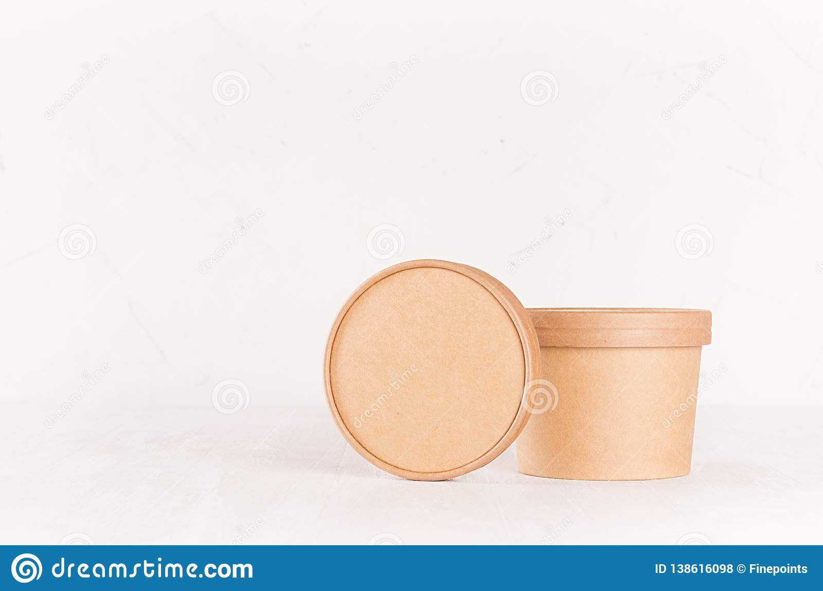 A fully layered psd file (change the print design and background color), measuring 4500 x 3150 px. Blank Brown Paper Bowl And Cap For Food Takeaway On Solf Light White Background Mockup For Brand Design Advertising Stock Photo Image Of Corporate Pack 138616098