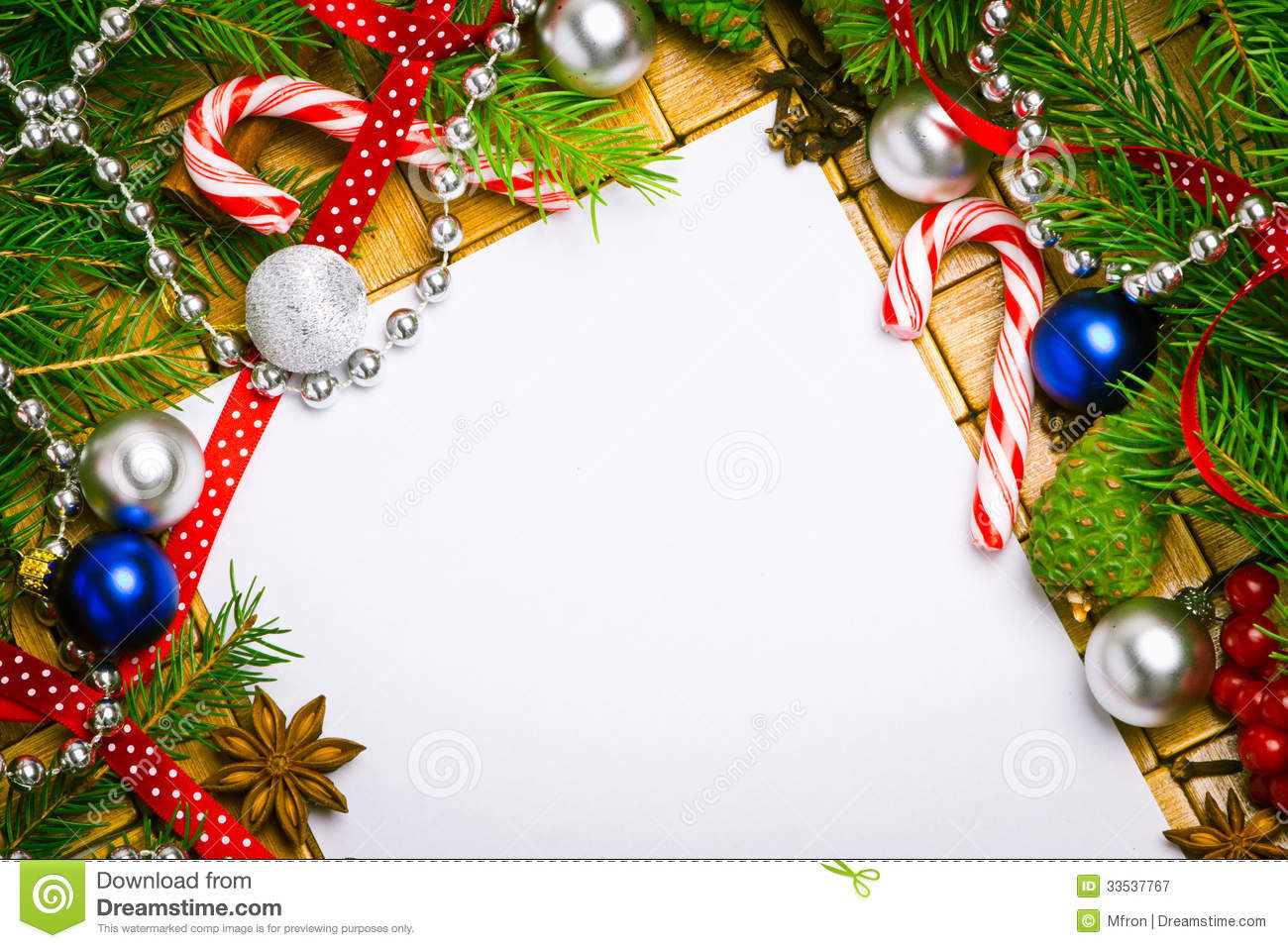 Blank Card For Christmas Greetings Royalty Free Stock