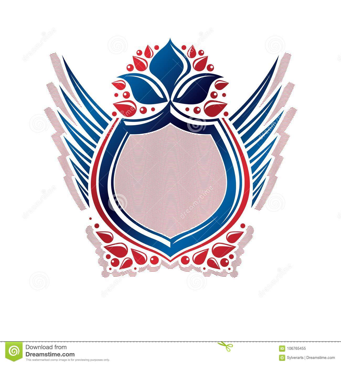 Blank Heraldic Coat Of Arms Decorative Emblem With Copy