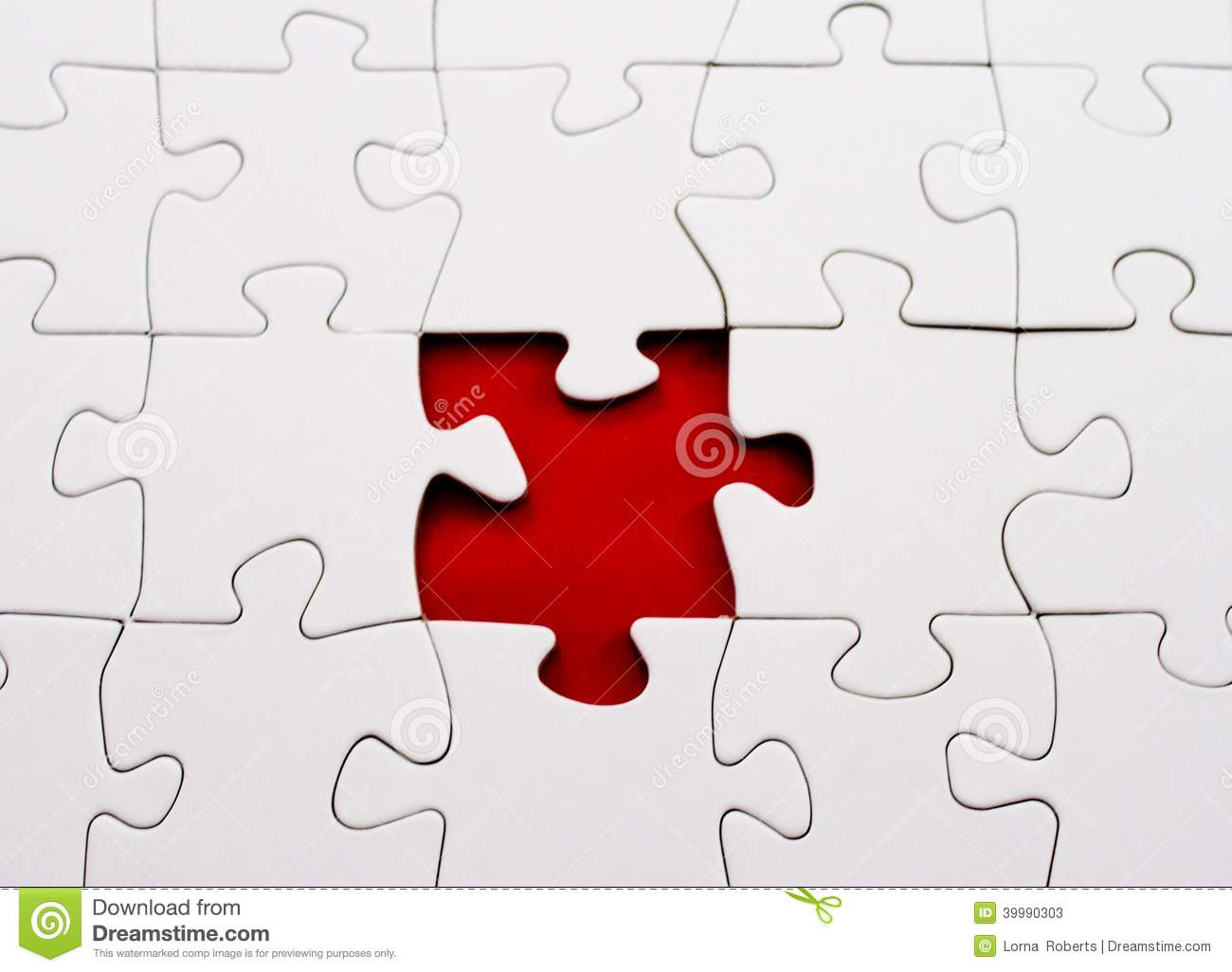Jigsaw Puzzle Blank Missing Piece Red Blank Stock Image