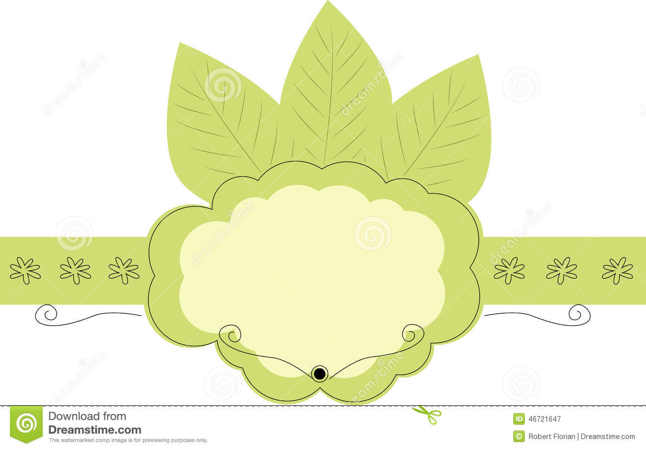 Blank Label With Green Leaf Stock Vector