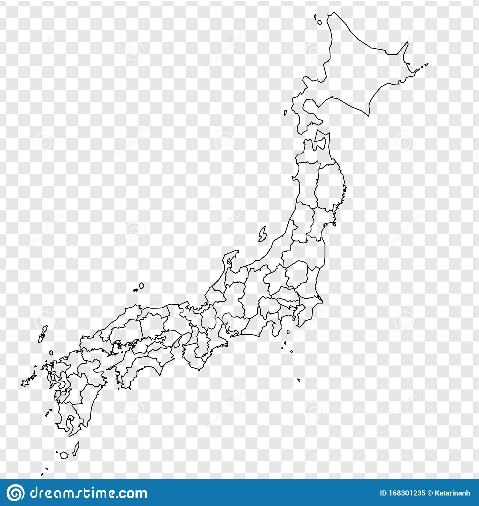 Blank Map Of Japan High Quality Map Of Japan With Provinces On Transparent Background For Your Web Site Design Logo App Ui As Stock Vector Illustration Of Icon Border 168301235