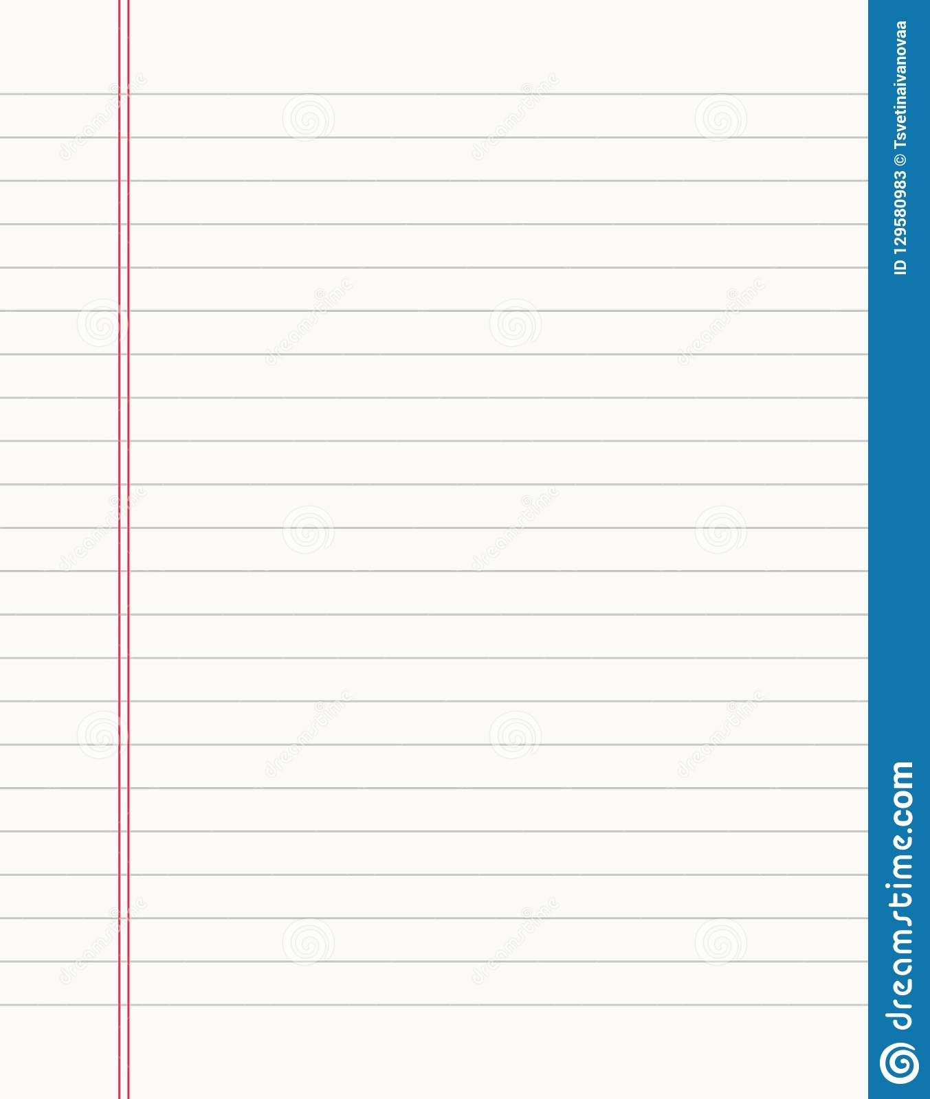 Blank Notebook Page Sheet Lined Vector Empty Notebook
