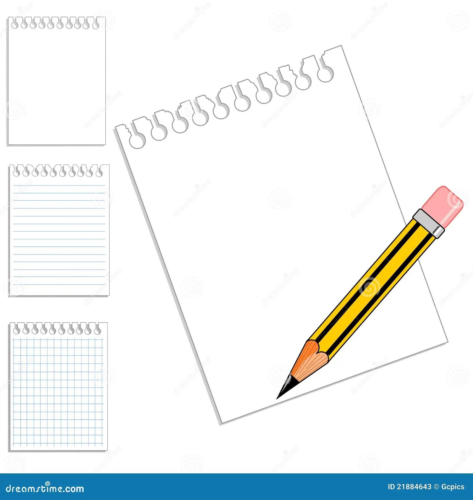 Blank Notebook Paper Amp Pencil Stock Photos