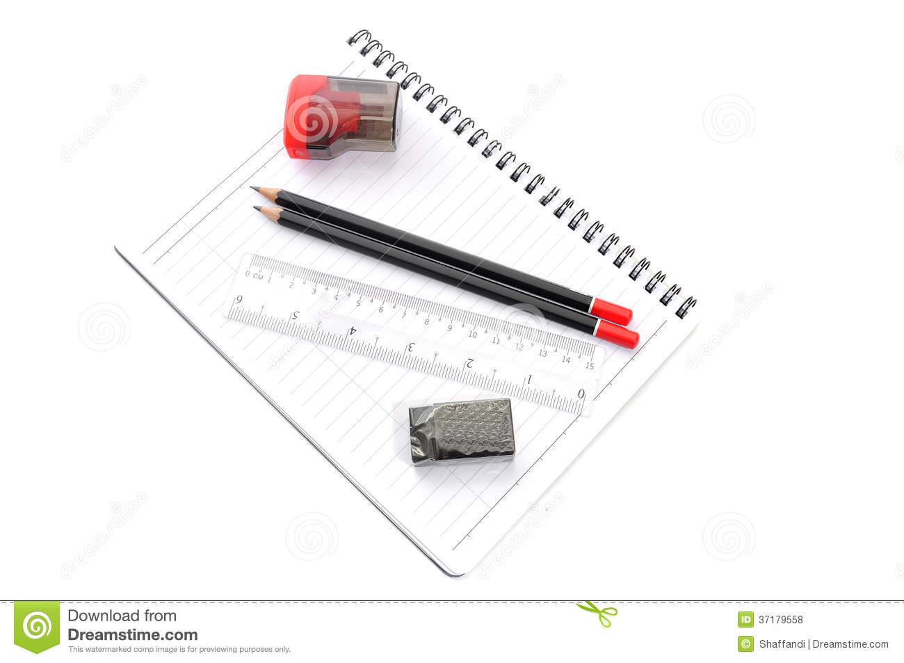 Blank Page With Pencils Eraser Ruler And Sharpener